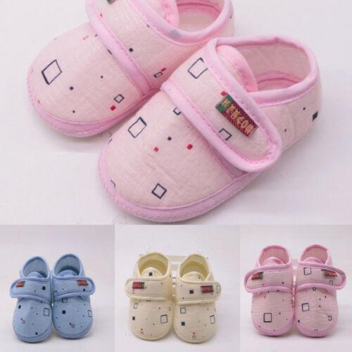 Newborn Toddler Infant Baby Girl/&Boy Soft Soled Non-slip Block Print Crib Shoes