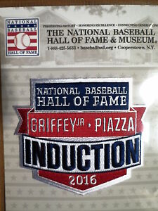 mlb official hall of fame induction patch 2016 ken griffey jr mike piazza ebay. Black Bedroom Furniture Sets. Home Design Ideas