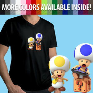 Nintendo-Super-Mario-Bros-Toad-Wii-U-Switch-Gamer-Game-Mens-Tee-V-Neck-T-Shirt