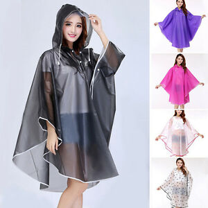 New-Women-Girls-Raincoat-Candy-Color-Jacket-Portable-Rain-Coat-Hood-Cape-Poncho