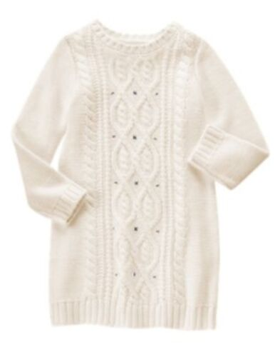 GYMBOREE VERY MERRY IVORY CABLE N GEMS SWEATER DRESS 5 6 7 8 10 NWT
