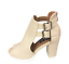 thumbnail 4 - Womens Ladies Beige Faux Leather High Heel Peep Toe Sandals Shoes Size UK 3 New