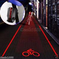 2 Laser+5 LED Flashing Rear Bike Bicycle Tail Light Lamp Beam Safety Warning Lot
