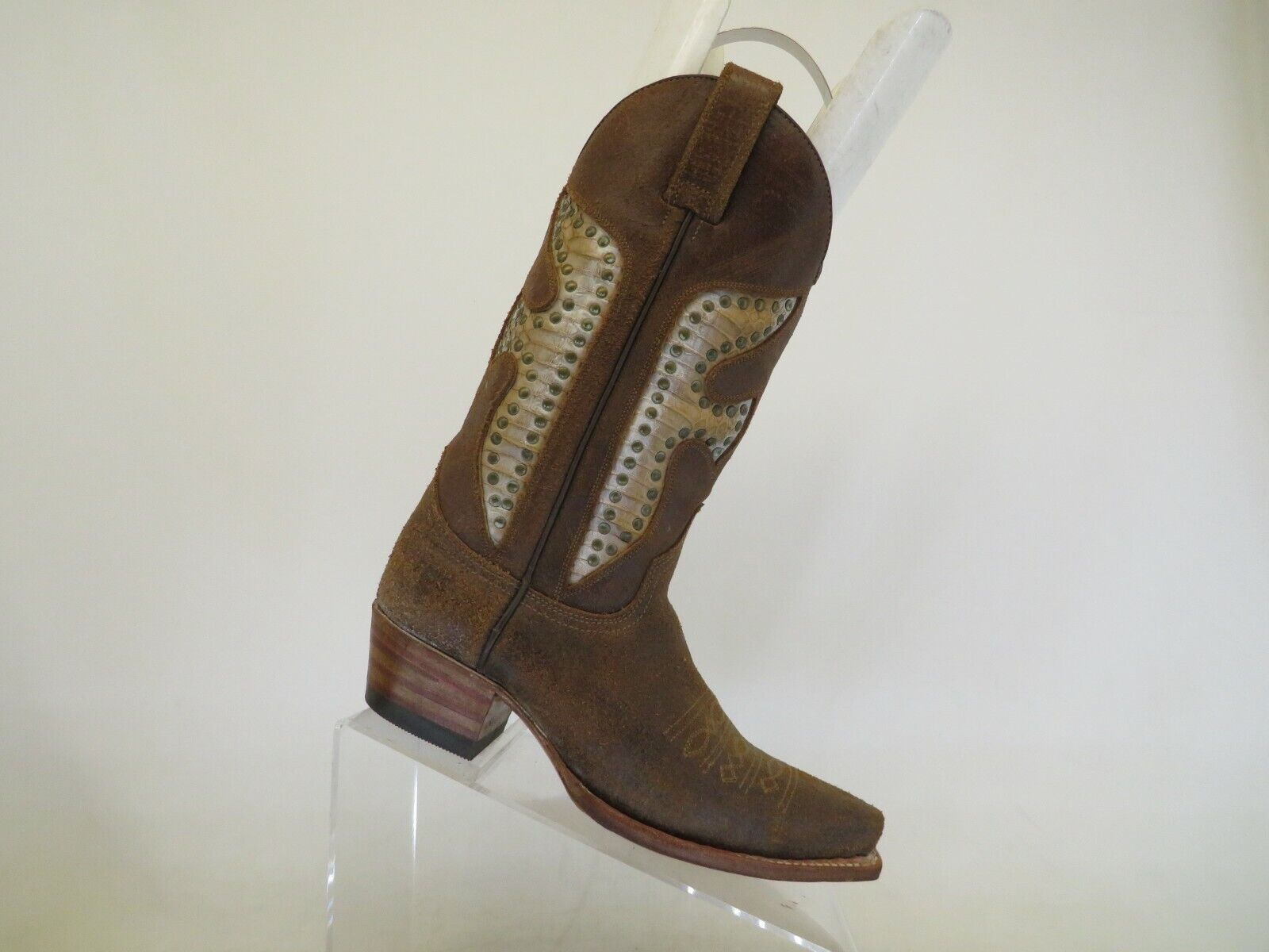 EUC Frye Distress Brown Rough Out Leather Inlay Cowboy Boots Womens Size 6 M