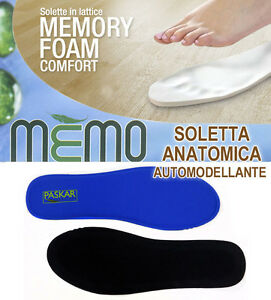 Dettagli su SOLETTE MEMORY FOAM PLANTARI SOTTOPIEDI ITALY LATTICE SCARPE  CALZATURE SPORT NEW