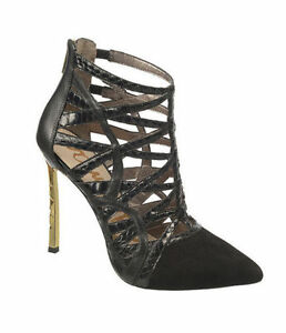 86be49cc3 Sam Edelman Sydney Leather Suede Caged Booties Gold Stiletto Heel ...