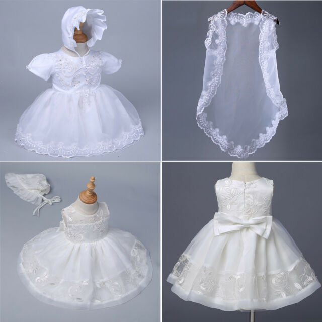 Taffy Baby Girl Christening Baptism Embroidered White Dress Gown 6 Pcs 0-3M