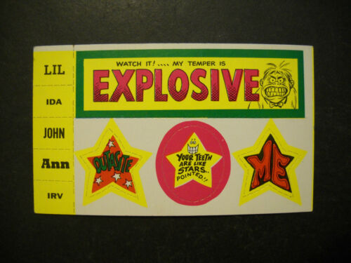 1969 GROOVY STICKONS CARD LIL TOPPS