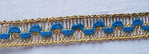 Vintage Gold Metallic Trim w/Blue Chenille Accent Open Weave French