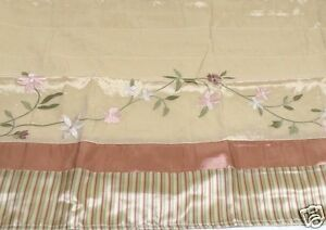 Floral-Vine-Embroidered-Valance-Striped-Lined-Shimmer-Fabric-84x16-New