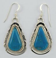 Navajo Handmade Sterling Silver Kingman Hook Earrings - Elouise Kee