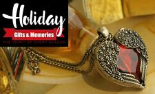 "Red Heart & Angel Wings Vintage 24"" Long Necklace Pendant  Gifts For Mom & Women"