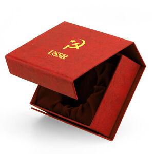 MOLNIJA-Taschenuhrbox-USSR-Box-Schatulle-fuer-Taschenuhr-Hammer-und-Sichel-CCCP