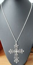 Large Filigree Cross Crucifix Tibetan Silver Pendant Necklace 90 x70mm