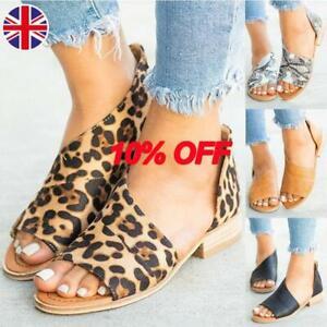 Women Leopard Print Peep Toe Low Heel