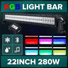 "5D 22""inch 280W RGB LED Light Bar Offroad Halo Ring Flash Strobe Multicolor 23"""