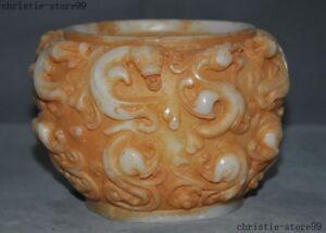 China-White-jade-Carved-Antique-Long-Dragon-auspicious-statue-Tank-Crock-Pot-Jar