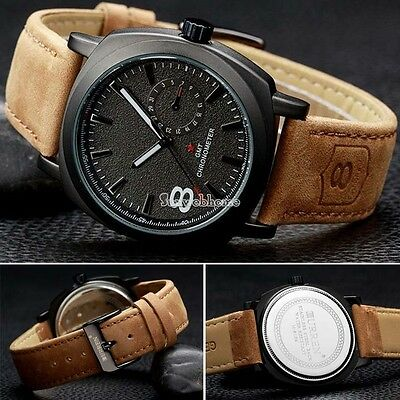 SALE Army Military Style Men's Watches Leather Strap Quartz Watch Wrist Watch SH