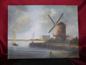 Original-Art-DUTCH-WINDMILL-Landscape-OIL-PAINTING-on-CANVAS-River-Seaside