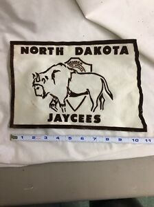 Vintage large jacket patch North Dakota Jaycees buffalo rare unusual ND