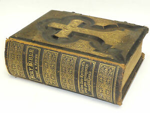 Details about RARE 1884 CATHOLIC ANTIQUE FAMILY BIBLE HAYDOCK DOUAY RHEIMS   22KT GOLD LEATHER