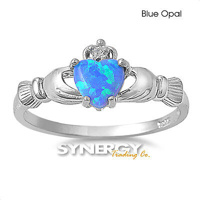 .925 Sterling Silver Irish Heart Shaped CZ Claddagh Promise Ring Size 4-10 NEW