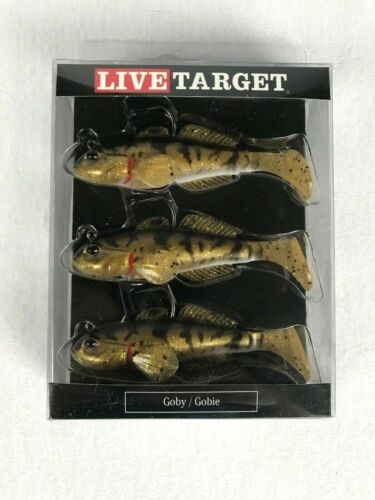 Livetarget Paddle Tail Goby Natural Gold 3//4 oz  Pack of 3 New