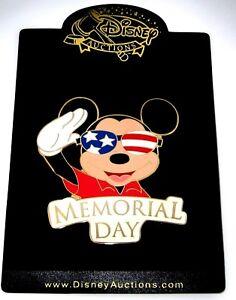 Jumbo Le 100 Disney Auction Pin Mickey Salutes Memorial Day Us Flag Patriotic Ebay