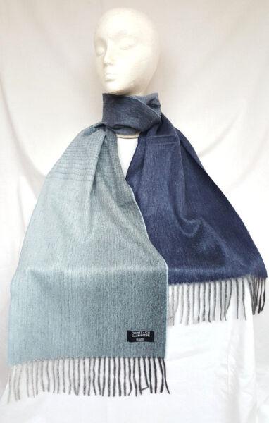 ** Nuevo ** Heritage Cashmere Doble Cara Azul Ombre Bufanda - 100% Pure Cashmere-ver Excelente Calidad