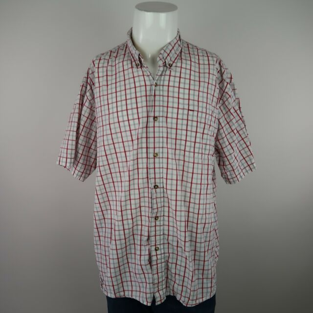 Wrangler Hero Red White Short Sleeve Button Front Check Casual Shirt Mens 2XL