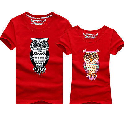 New Hot  8-color Women men summer Leisure clothes for Owl Lovers couple T-shirt