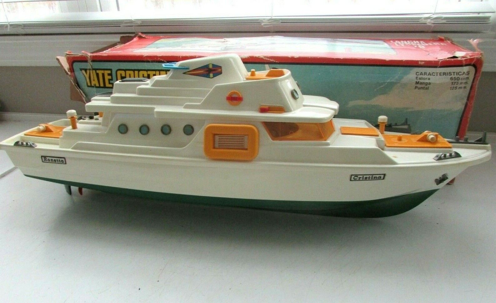 Jahr YATE CRISTINA RANETTA Spielzeug YACHT BATTERY OPERATED groß 26  LONG w BOX