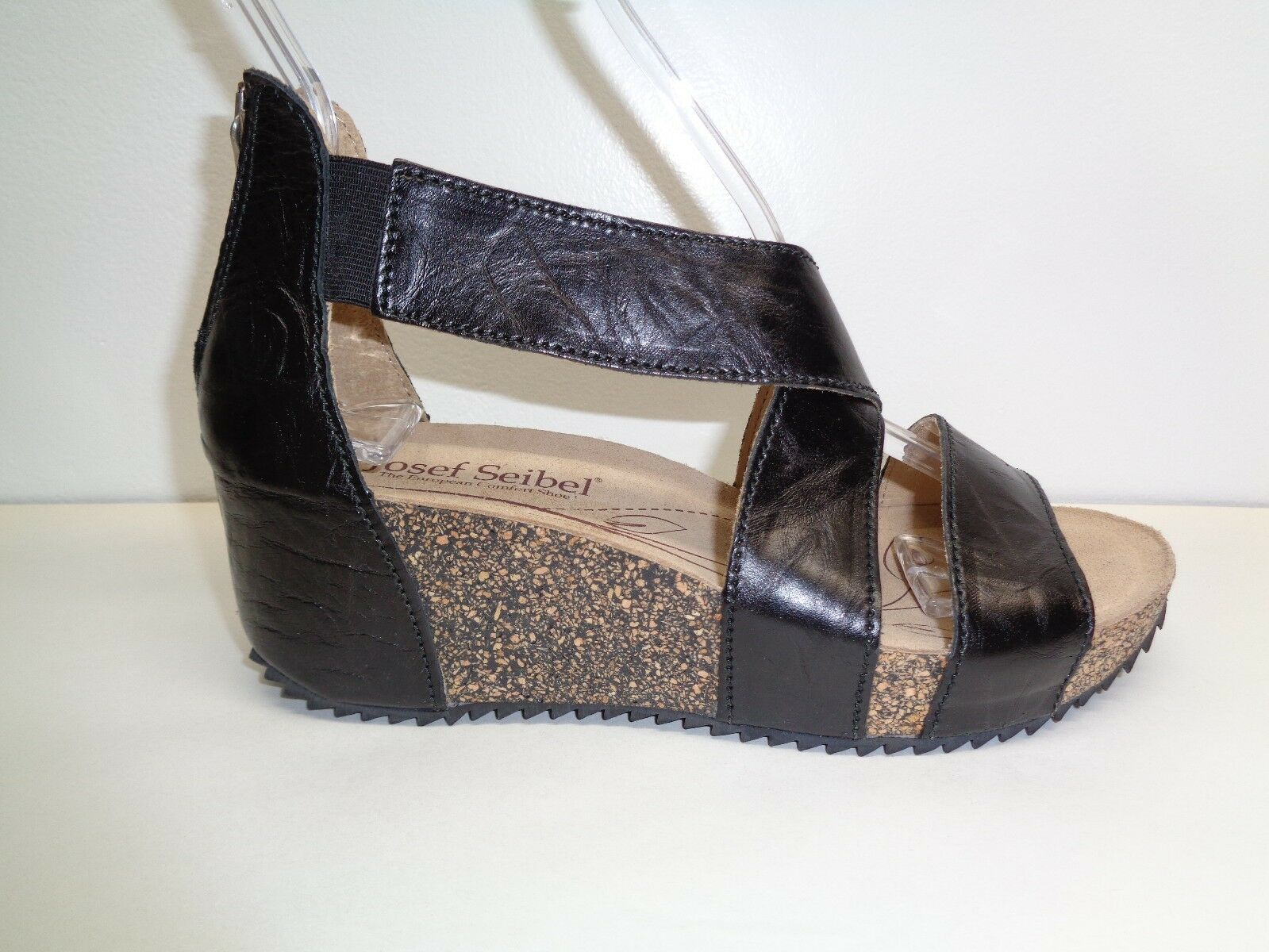 Josef Seibel Seibel Seibel tamaño 7 a 7.5 05 De Cuero Negro Cuña Sandalias Meike Nuevos Zapatos para mujer  barato