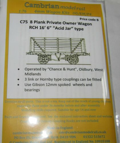 """CAMBRIAN C75  KIT 8 PLANK PRIVATE OWNER WAGON RCH 16/' 6/"""" ACID JAR TYPE NEW OO"""