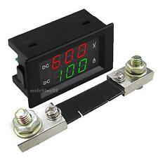 """0.39"""" Dual LED Digital DC600V 100A Voltmeter Ammeter Voltage Amps Meter+SHUNT"""