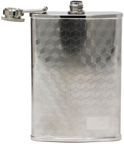 8 oz Stainless Steel Alcohol Liquor Flask in Etched 3D Cube Print