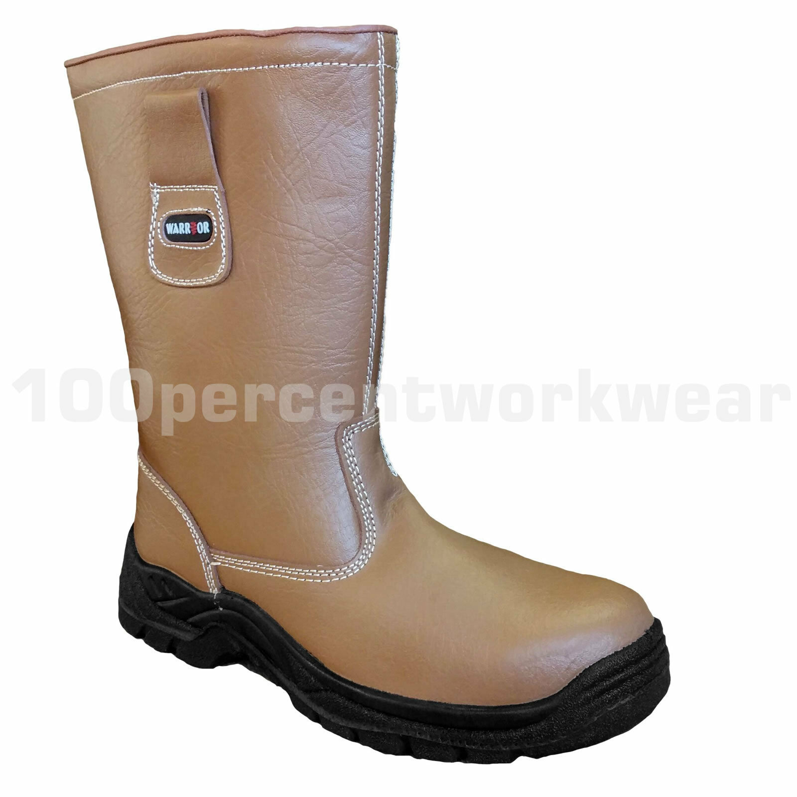 Warrior MMB7 Tan Leather Rigger Safety Boots Fur Lined Steel Toe Cap Mid Sole