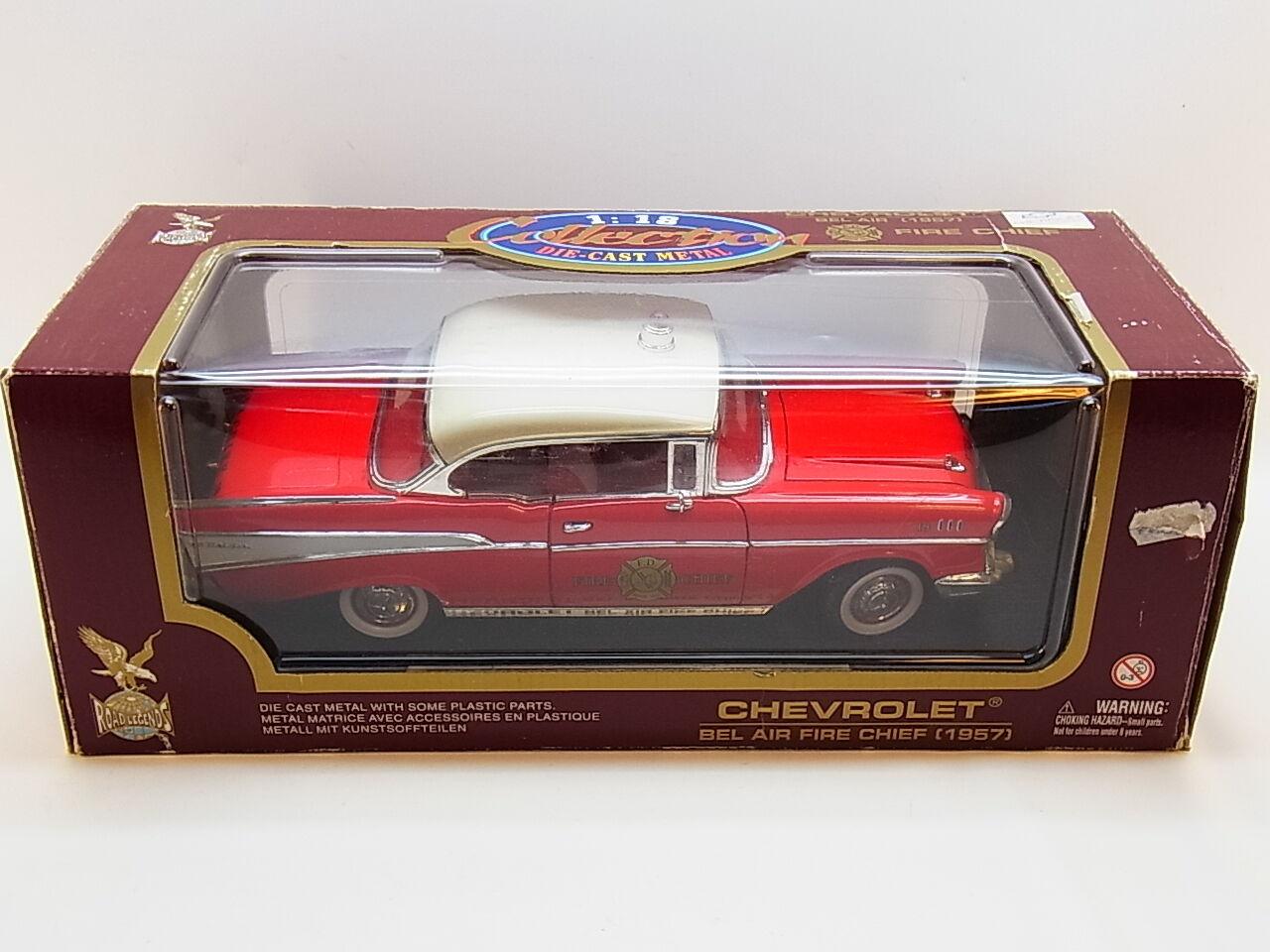 LOT 32046 Yat Ming 92106 1957 Chevy Feuerwehr Die-Cast Modell 1 18 Mängel in OVP