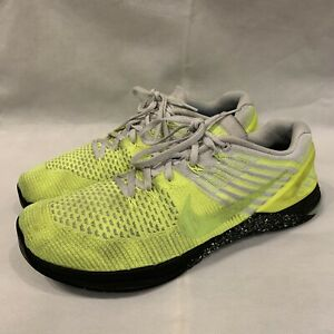 Nike Metcon DSX Flyknit Volt Yellow/Grey Mens Trainer Shoes Size 12 852930-701
