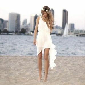 Details About White Ivory Beach Wedding Dress Short Bridal Gown Custom Size 6 8 10 12 14 16