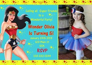 Image Is Loading Wonder Woman Birthday Invitation Invitations Superhero