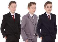 Boys Formal Suit Black Grey Navy Blue Age 1-15 Years Wedding Prom Cruise BNWT