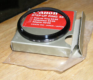 genuine canon 52mm to 55mm step up ring boxed (1980's)