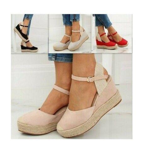 Nouveau Femme Sandales Été Chaussures Compensé Tailles 3-8