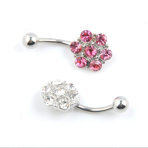 Rhinestones Flower Surgical Steel Barbell Piercing Belly Button Navel Ring/_SH
