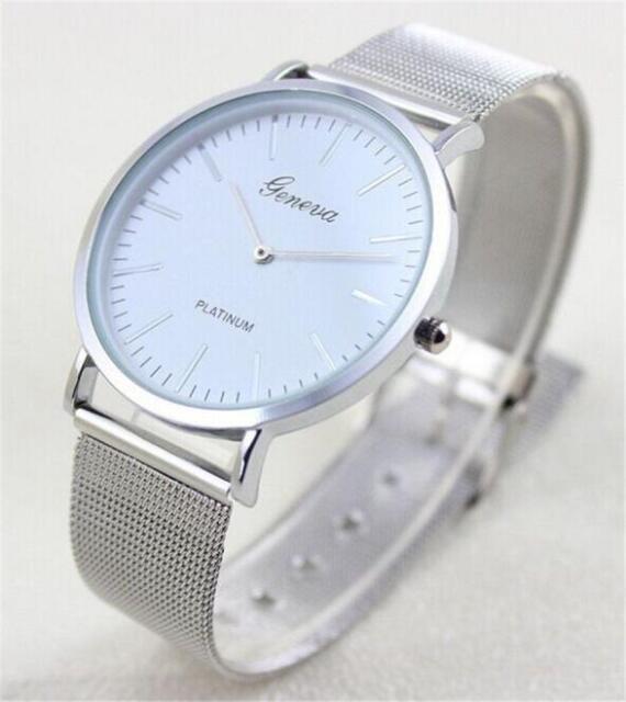 Fashion Women's Geneva Watch Mesh Stainless Steel Analog Quartz Wrist Watch Gift