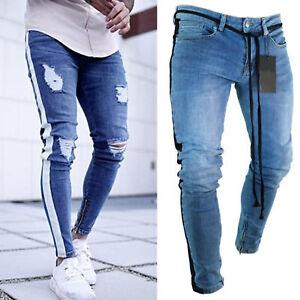 Men-Skinny-Jeans-Destroyed-Ripped-Stretch-Denim-Slim-Pants-Biker-Frayed-Trousers
