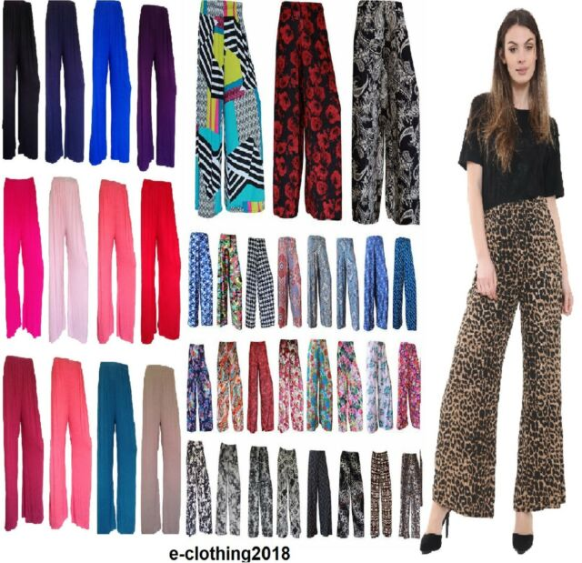 New Plus Size Womens Floral Print Ladies Wide Leg Palazzo Trousers Pants 12-26