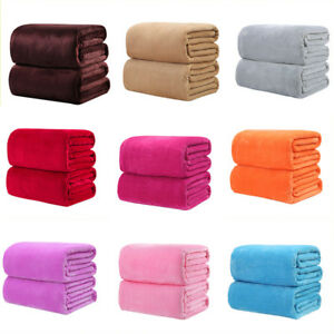 50-70cm-Sofa-Air-Bedding-Throw-Solid-Color-Double-Faced-Travel-Flannel-Blankets