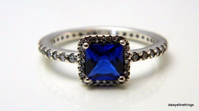 2267c1dbc NWT AUTHENTIC PANDORA RING TIMELESS ELEGANCE BLUE CRYSTAL #190947NBT HINGED  BOX